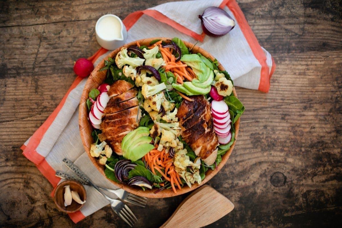 Roasted Cauliflower and Chicken Salad