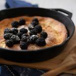 Low Carb Puff Pancake or Dutch Baby with berries on top #Castiron #lowcarb #keto #ygdeats
