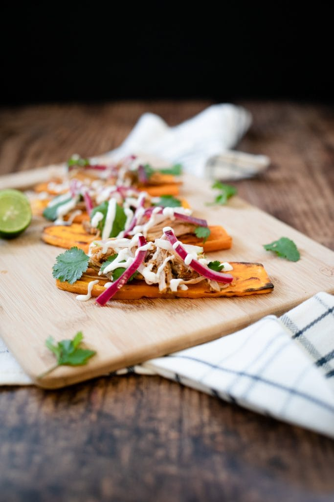Sweet Potato Carnitas Taco #slowcarb #THM