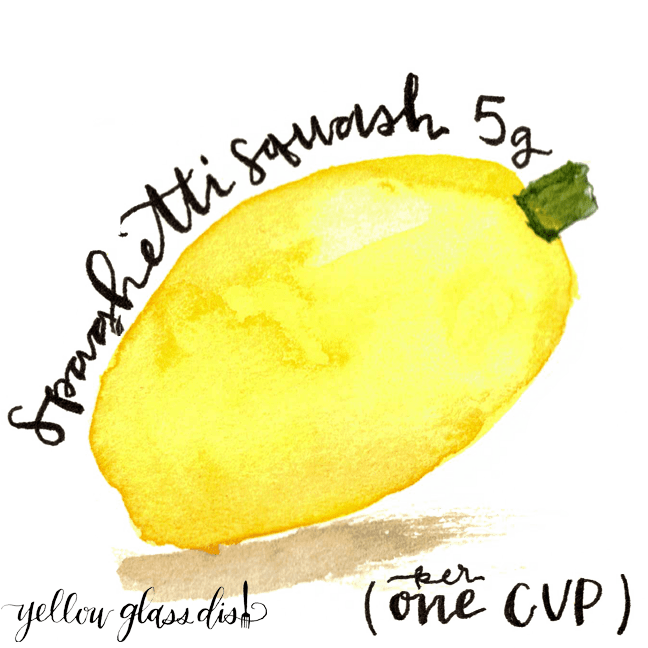 Spaghetti Squash watercolor with Carb count