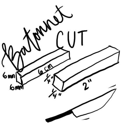Dimensions for batonnet cut
