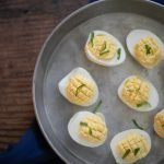 Low Carb Deviled Eggs with ricotta cheese and Dijon Mustard #keto #lowcarb #THMS #Easter #Brunch #picnicfood