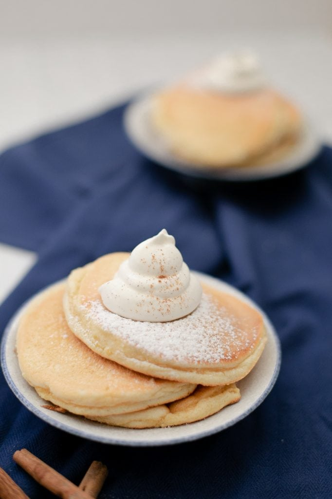Keto souffle pancakes with fresh whipped cream and cinnamon and powdered #Lakanto monk fruit sweetener -  Low Carb, THM-S, Japanese pancake!