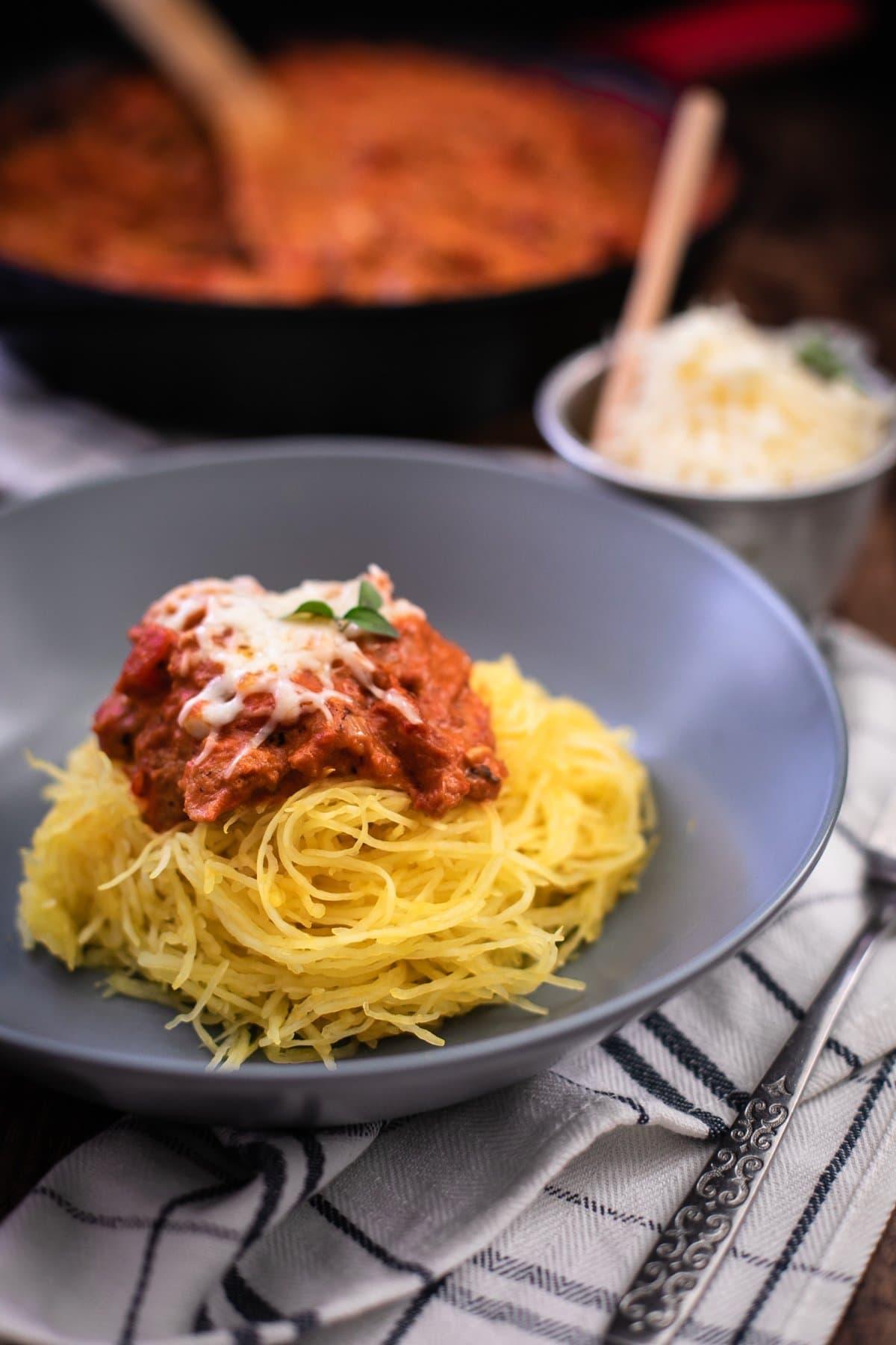 Vodka Pasta Sauce over Spaghetti Squash