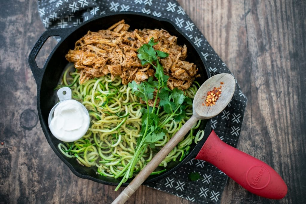 Carnitas zucchini noodles one pan meal - Low carb zoodle recipe #ketorecipe #lowcarb #onepanlowcarb