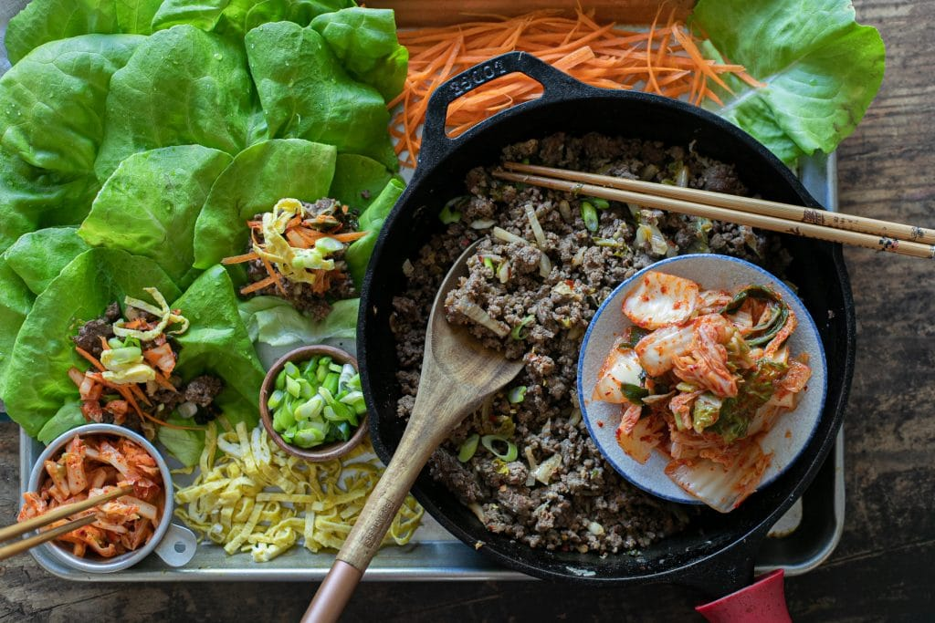 Kimchi Beef Lettuce Wraps - a Low carb meal! #keto #THMS #trimhealthymama #lowcarbasian