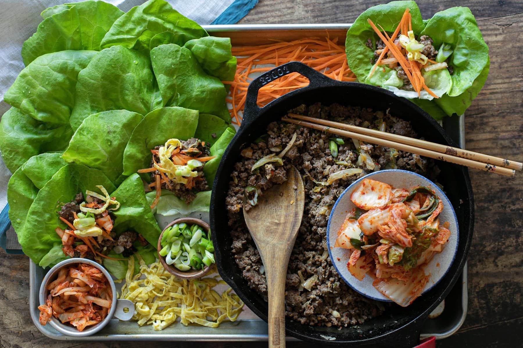 Korean Kimchi Beef Lettuce Wraps