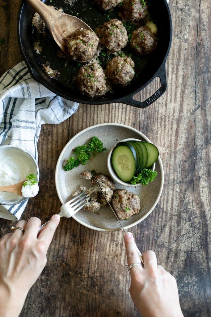 Falafel meatballs with fresh mozzarella and a yogurt garlic dipping sauce. Low carb, Keto, Trim Healthy Mama recipe