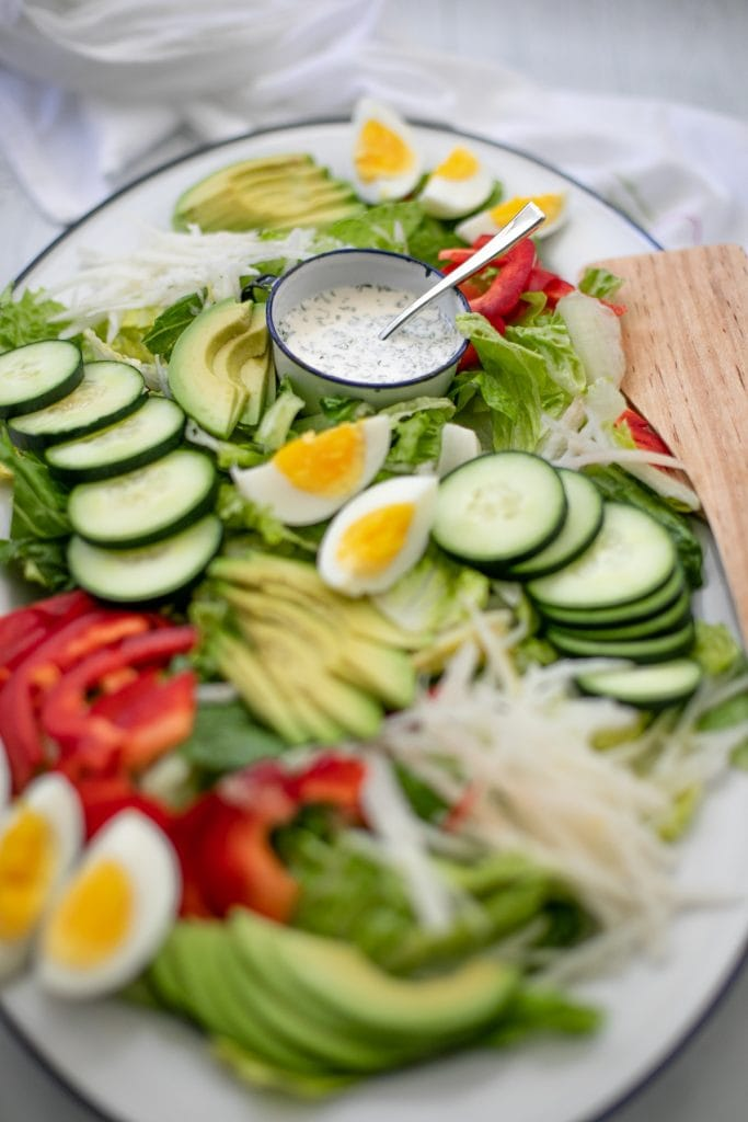 Farmers market salad - filled with fresh produce and a lemon ranch dressing