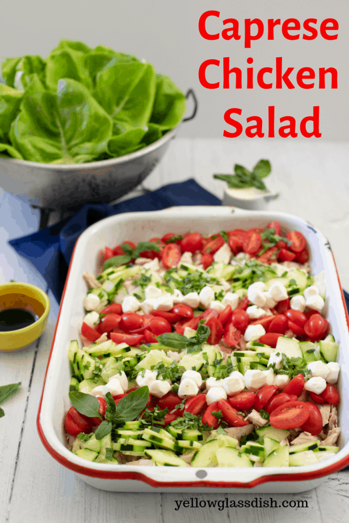 Caprese chicken salad - an easy keto chicken salad that is loaded with your favorite Caprese flavors of fresh mozzarella, basil, and balsamic glaze. #ketorecipes #lowcarb #caprese #ketosalad #easyketo #easyrecipes #freshmozzarella #keto #yellowglassdish