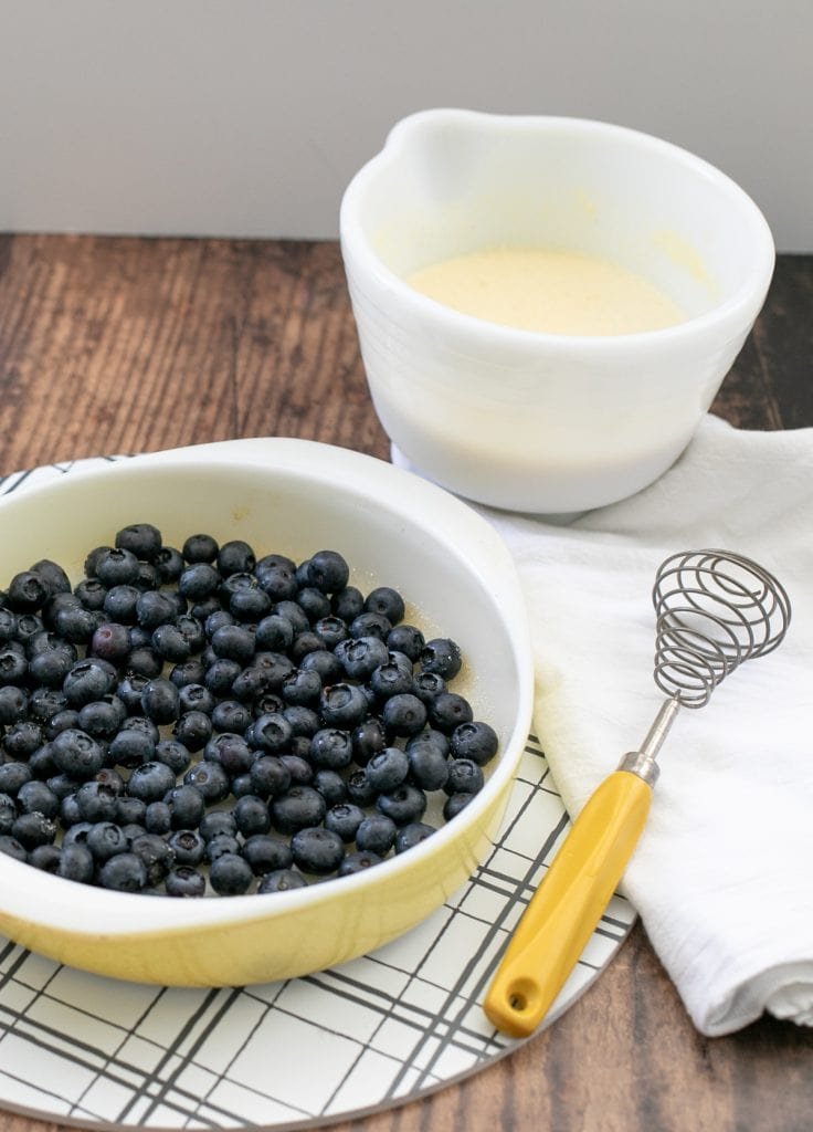 Blueberries in dish for making clafoutis - Low Carb and keto dessert or breakfast