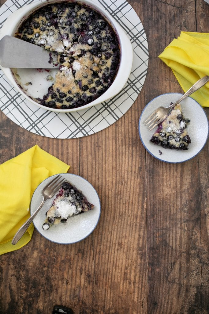 Low carb blueberry clafoutis on plates - Keto and GF recipe