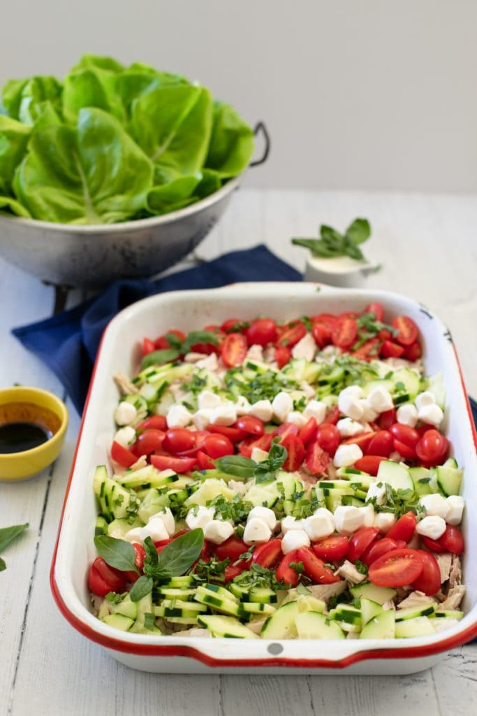Caprese chicken salad is a perfect mix of Caprese salad with chicken salad.