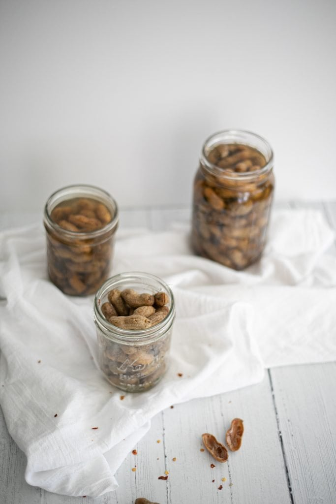 Boiled Peanuts, made in the Instant Pot are ready to serve in mason jars