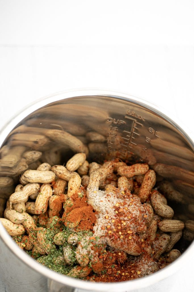 Raw peanuts ready to boil with Cajun spices