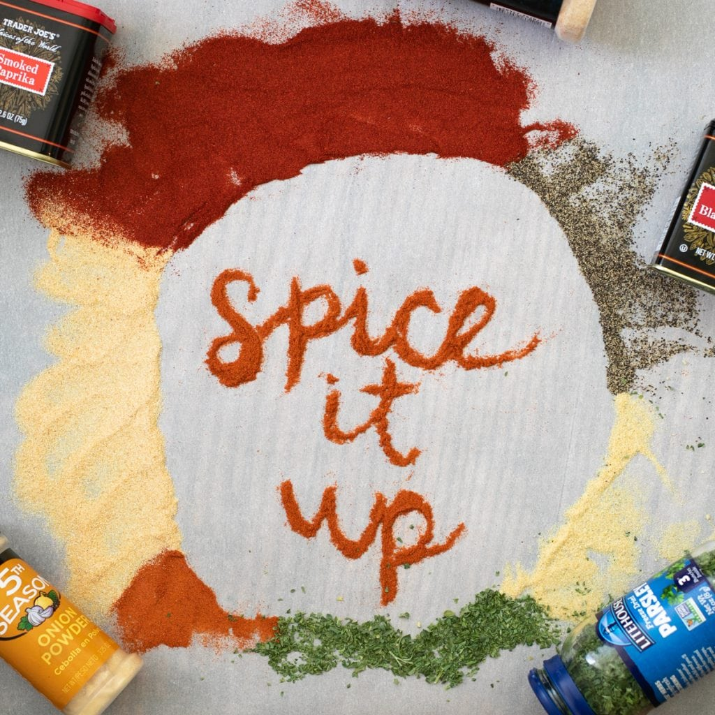 Decorative lettering with spices - Spice It up - spices used in keto ribs
