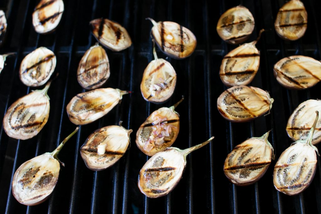 Grilling Eggplants on the grill