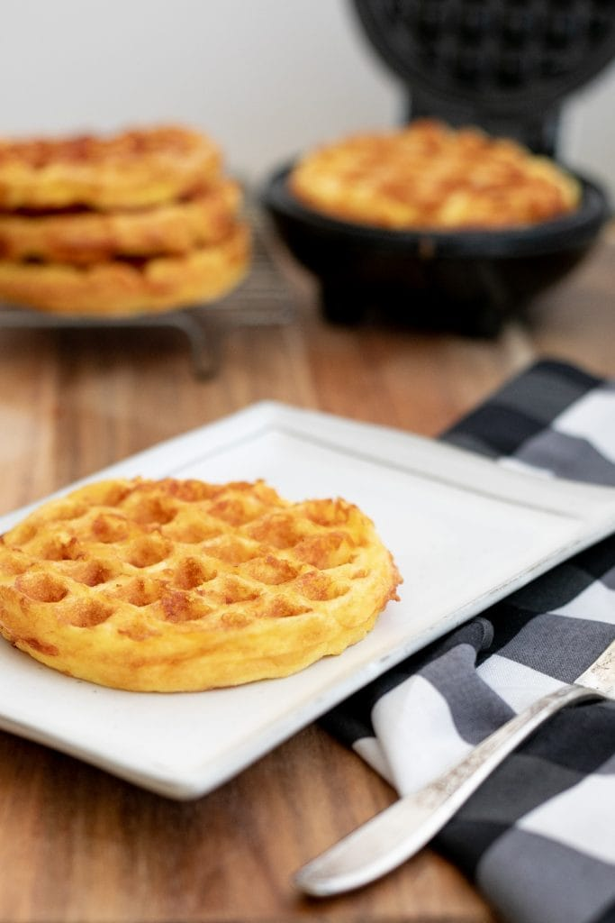 Low carb chaffles with cheese and eggs