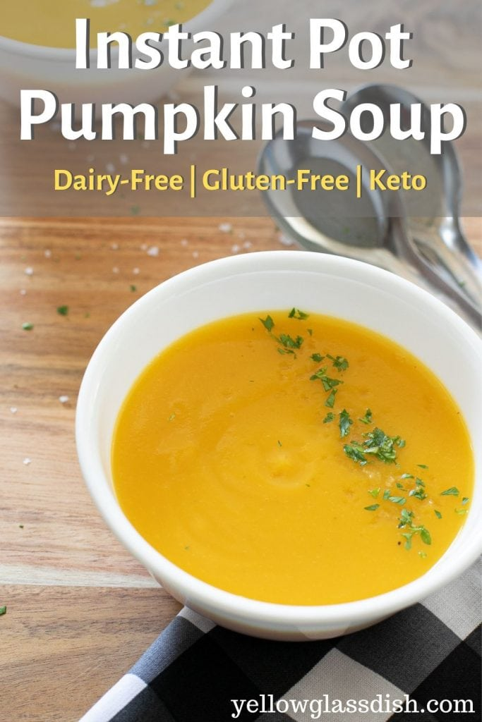 Pinterest Pin with a bowl of Pumpkin Soup