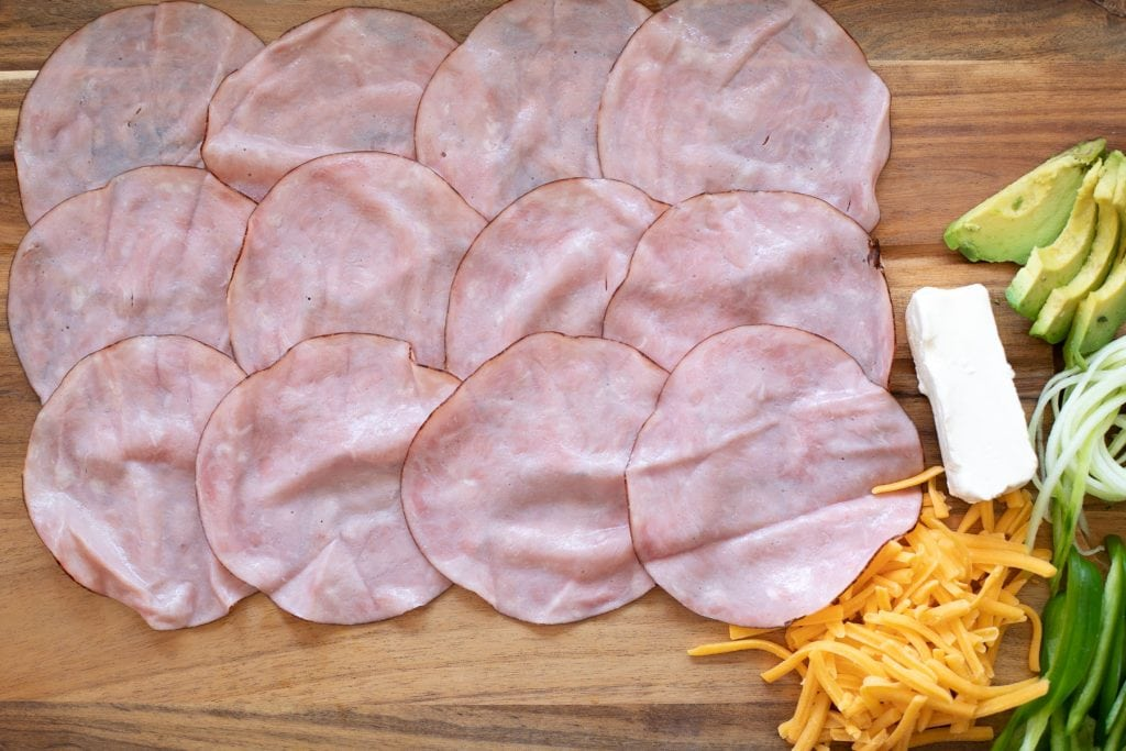 Ham laid out for lunch meat roll ups
