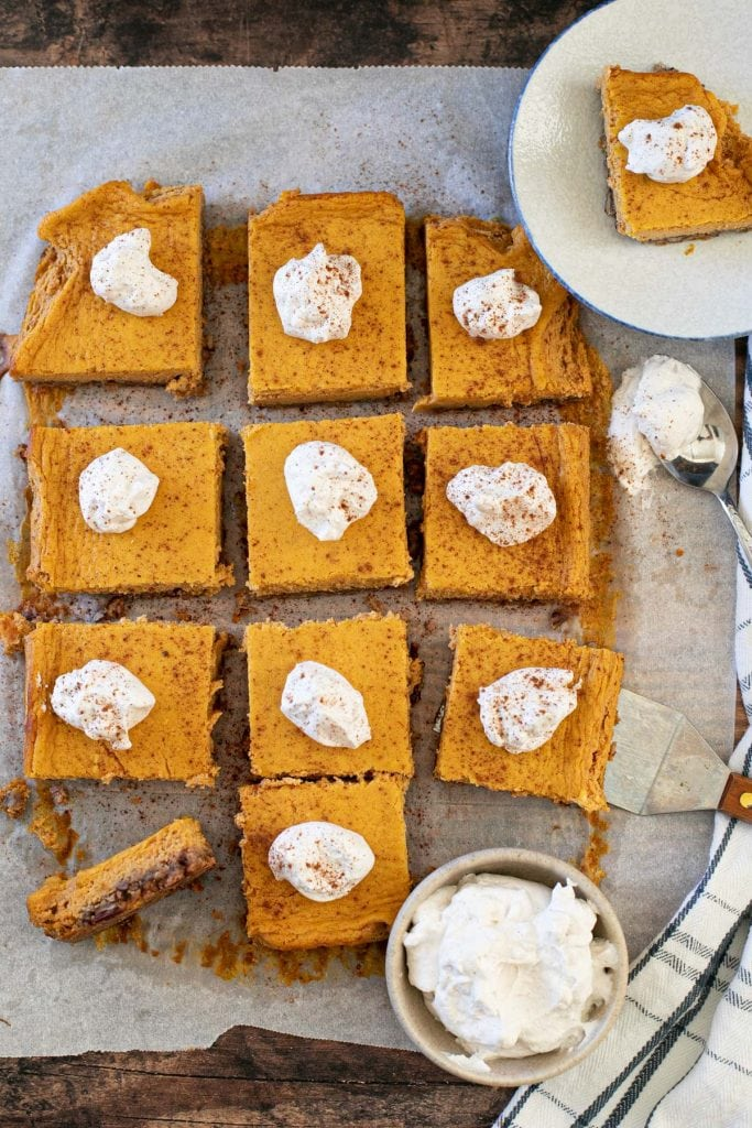 Pumpkin Cheesecake squares that are low-carb, sugar-free, nut-free.