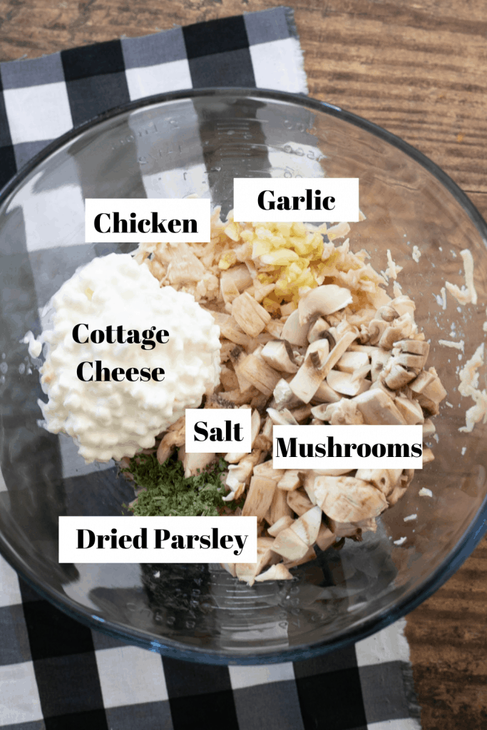 Ingredients for chicken stuffed bell peppers - Chicken, garlic, cottage cheese, salt, mushrooms, dried parsley