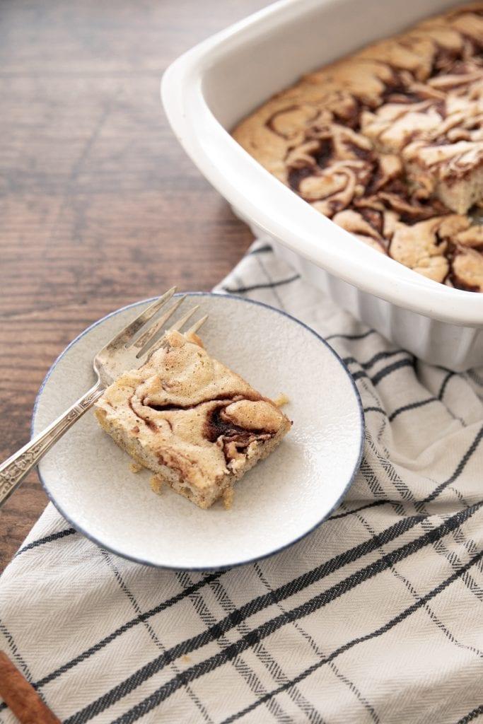 Plate with cinnamon keto coffee cake