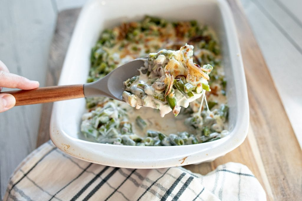 Keto green bean casserole with cheese