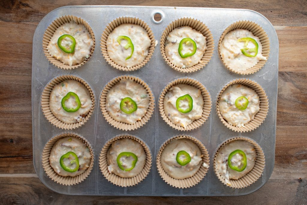 Bacon jalapeno popper muffins ready to go into the oven